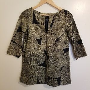 Gold Black Butterfly Handmade Indian Style Tunic